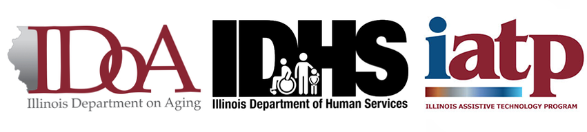 Illinois Department on Aging, Illinois Department of Human Services and Illinois Assistive Technology Program Logos